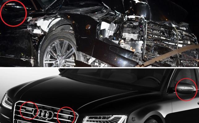 Audi A8 L Security - miejsca, w których jest wbudowana sygnalizacja auta uprzywilejowanego