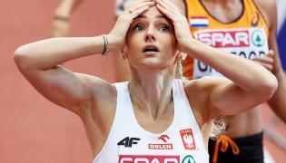 Justyna Święty na mecie eliminacyjnego biegu na 400 m